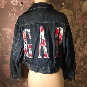 GAP Cropped Denim Jacket Patchwork Detail Medium